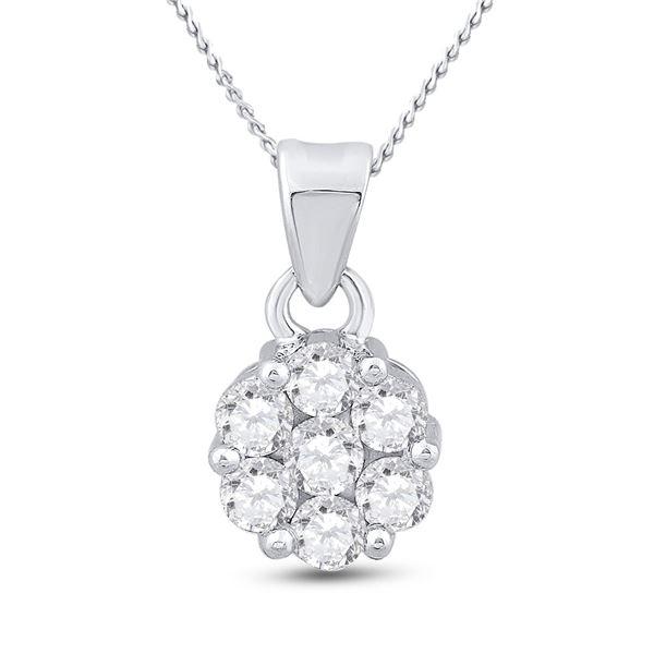 Round Diamond Flower Cluster Pendant 1 Cttw 14KT White Gold