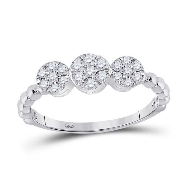 Round Diamond Beaded Triple Cluster Ring 1/3 Cttw 10KT White Gold