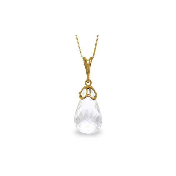 Genuine 7 ctw White Topaz Necklace 14KT Yellow Gold - REF-25T3A