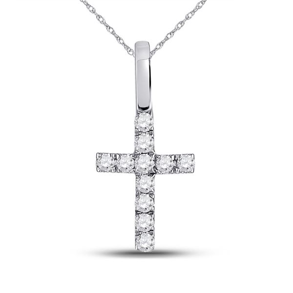 Round Diamond Dainty Cross Pendant 1/10 Cttw 14KT White Gold