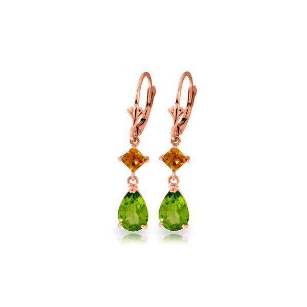 Genuine 4.5 ctw Peridot & Citrine Earrings 14KT Rose Gold - REF-41F4Z