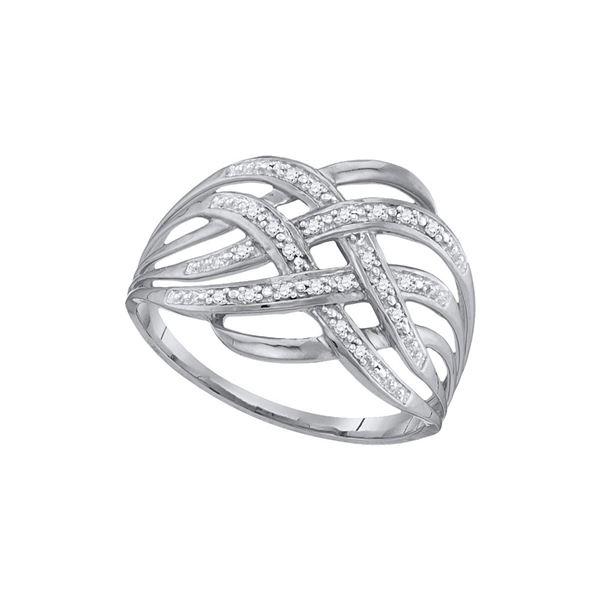 Round Diamond Woven Fashion Band Ring 1/20 Cttw 10KT White Gold