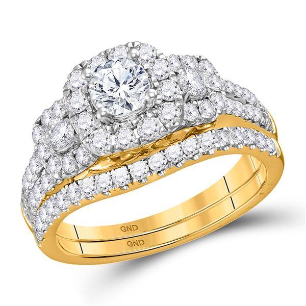 Diamond 3-stone Bridal Wedding Engagement Ring 1-1/2 Cttw 14KT Yellow Gold