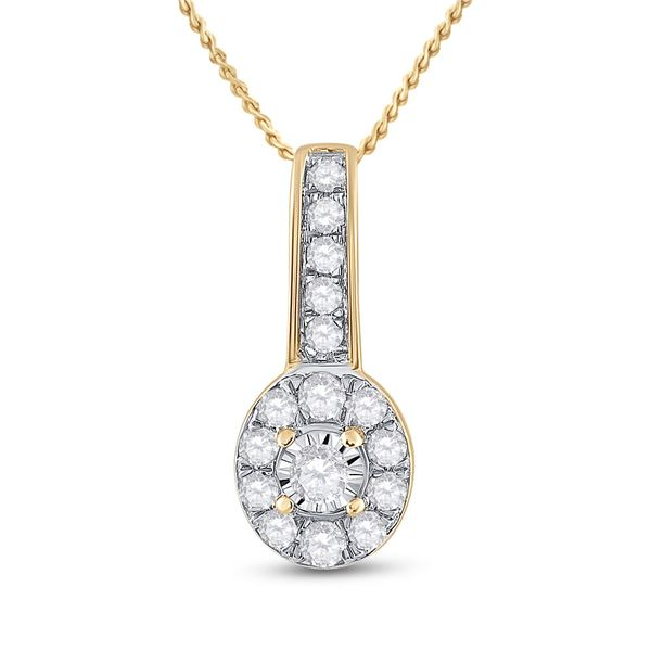 Round Diamond Oval Pendant 1/4 Cttw 10KT Yellow Gold