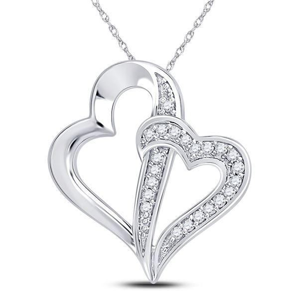 Round Diamond Double Linked Heart Pendant 1/20 Cttw 10KT White Gold