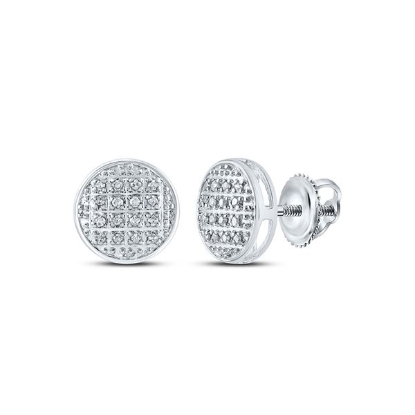 Round Diamond Circle Cluster Stud Earrings 1/12 Cttw 10KT White Gold