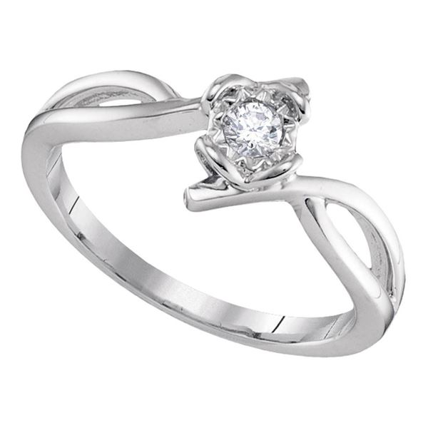 Round Diamond Solitaire Promise Ring 1/8 Cttw 10KT White Gold