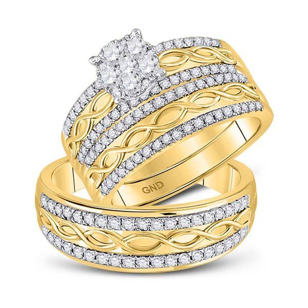 Diamond Cluster Matching Wedding Set 1 Cttw 10KT Yellow Gold