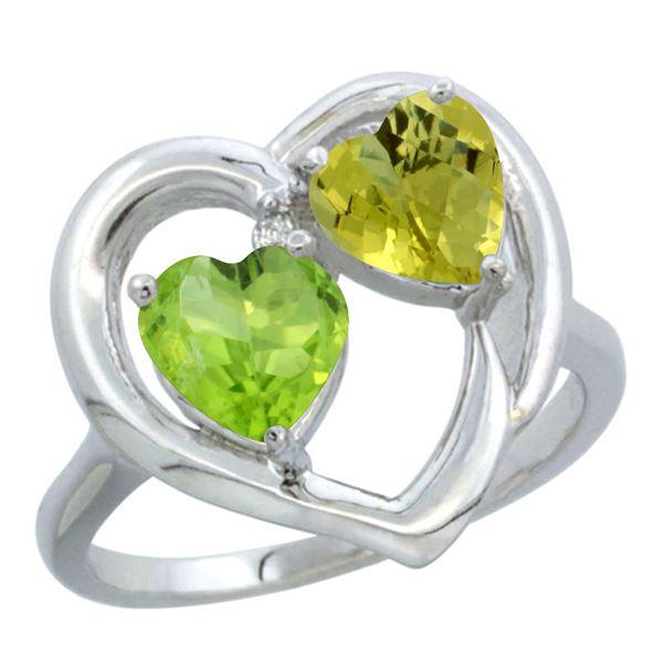 2.61 CTW Diamond, Peridot & Lemon Quartz Ring 10K White Gold - REF-23H5M