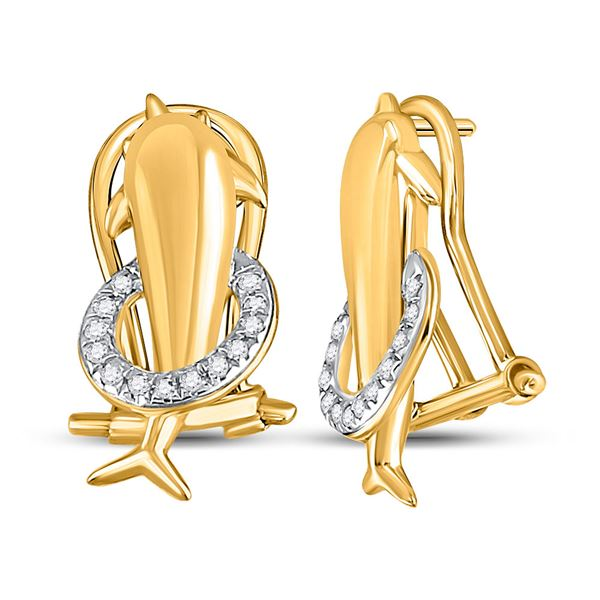 Round Diamond Dolphin French-clip Stud Earrings 1/12 Cttw 10KT Yellow Gold