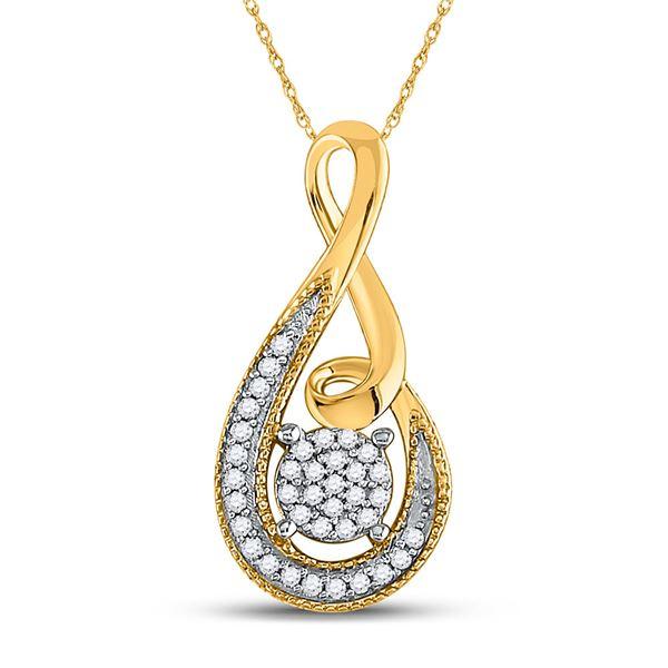 Round Diamond Teardrop Cluster Pendant 1/10 Cttw 10KT Yellow Gold