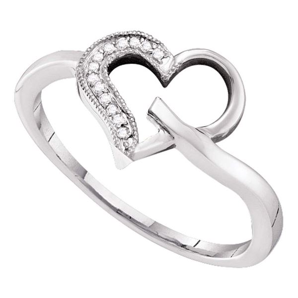 Round Diamond Heart Outline Ring 1/20 Cttw 10KT White Gold