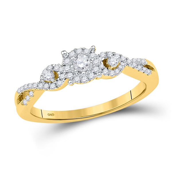 Diamond Solitaire Halo Twist Bridal Wedding Engagement Ring 1/4 Cttw 10KT Yellow Gold