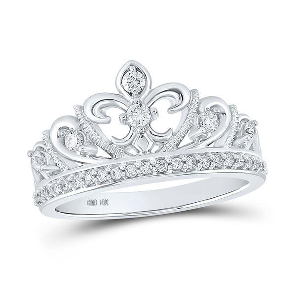 Round Diamond Fleur-de-lis Crown Ring 1/3 Cttw 10KT White Gold