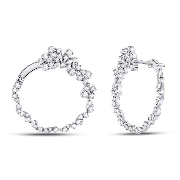 Round Diamond Hoop Earrings 1-1/2 Cttw 14KT White Gold