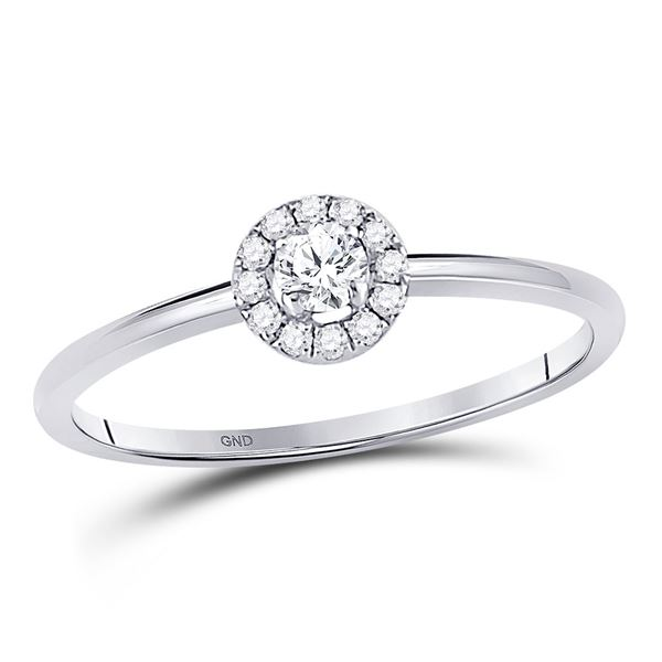 Round Diamond Solitaire Stackable Band Ring 1/5 Cttw 10KT White Gold