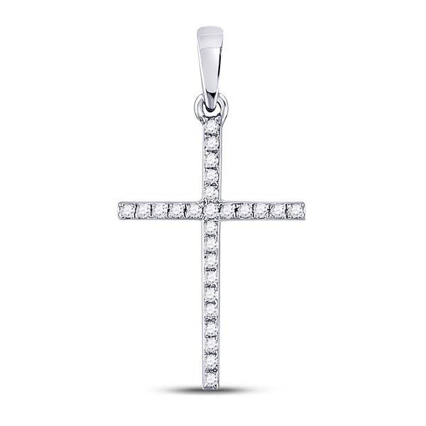 Round Diamond Religious Cross Pendant 1/6 Cttw 10KT White Gold