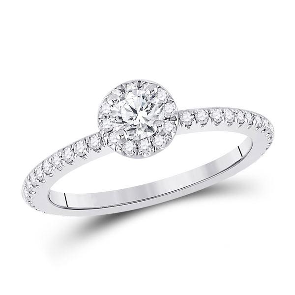 Diamond Halo Bridal Wedding Engagement Ring 5/8 Cttw 14KT White Gold