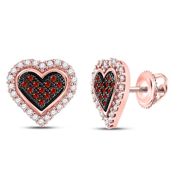 Round Red Color Enhanced Diamond Heart Earrings 1/4 Cttw 10KT Rose Gold