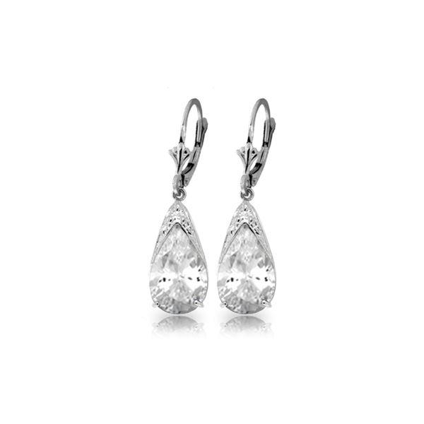 Genuine 10 ctw White Topaz Earrings 14KT White Gold - REF-55F5Z