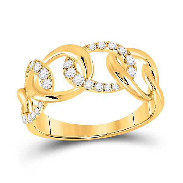 Round Diamond Curb Link Fashion Ring 1/3 Cttw 14KT Yellow Gold