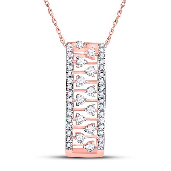 Round Diamond Rectangular Fashion Necklace 1/3 Cttw 14KT Rose Gold