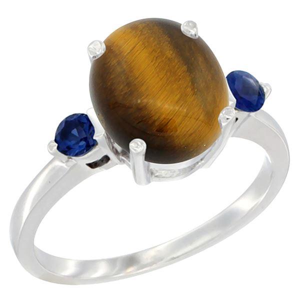 2.54 CTW Tiger Eye & Blue Sapphire Ring 10K White Gold - REF-22A4X