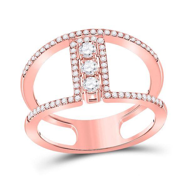 Round Diamond Fashion 3-stone Ring 3/8 Cttw 10KT Rose Gold
