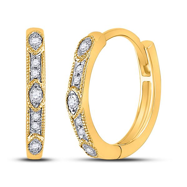 Round Diamond Milgrain Fashion Earrings 1/10 Cttw 10KT Yellow Gold