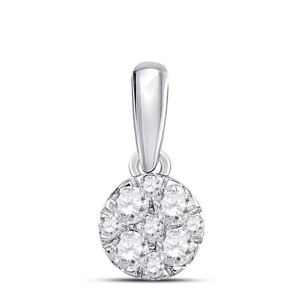Round Diamond Fashion Cluster Pendant 1/4 Cttw 14KT White Gold