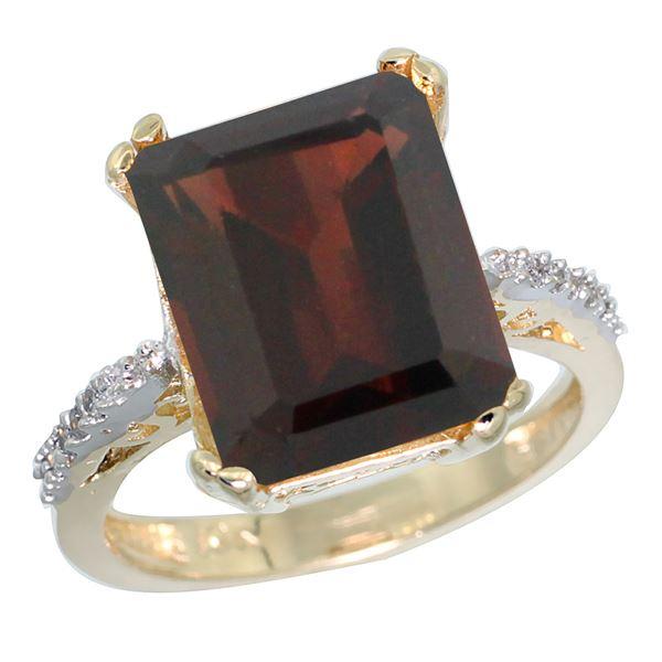 5.52 CTW Garnet & Diamond Ring 10K Yellow Gold - REF-46R3H