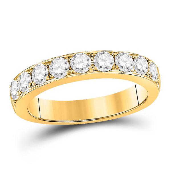 Round Diamond Single Row Band Ring 1 Cttw 14KT Yellow Gold