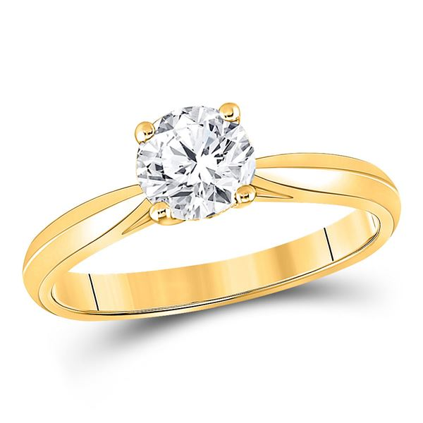 Round Diamond Solitaire Bridal Wedding Engagement Ring 3/4 Cttw 14KT Yellow Gold