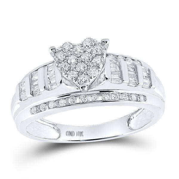 Diamond Heart Bridal Wedding Engagement Ring 1/2 Cttw 10KT White Gold