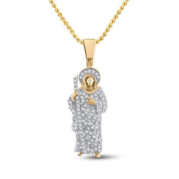 Round Diamond Jesus Saint Charm Pendant 3/8 Cttw 14KT Yellow Gold