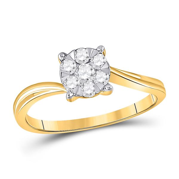 Round Diamond Flower Cluster Ring 1/3 Cttw 10KT Yellow Gold
