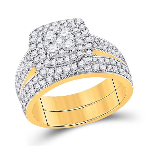 Diamond Square Bridal Wedding Ring Band Set 1-3/8 Cttw 14KT Yellow Gold