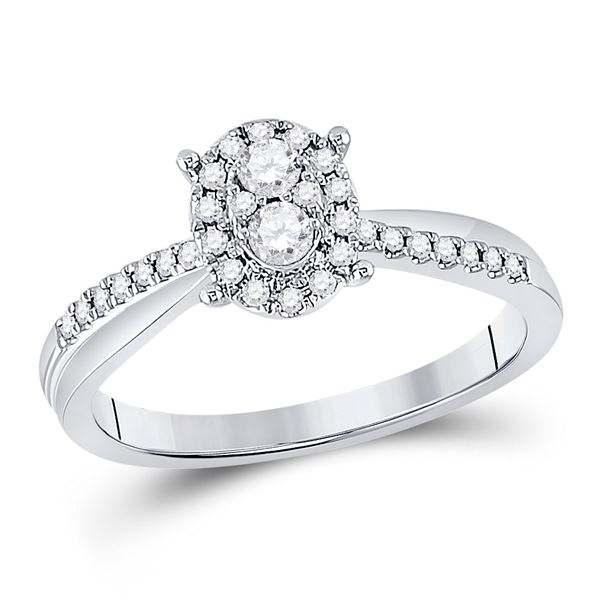 Round Diamond Oval Cluster Ring 1/4 Cttw 10KT White Gold