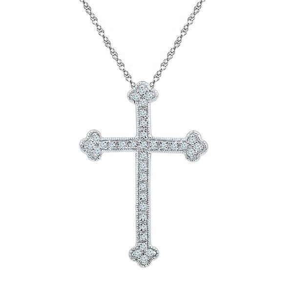 Round Diamond Gothic Cross Religious Pendant 1/5 Cttw 10KT White Gold
