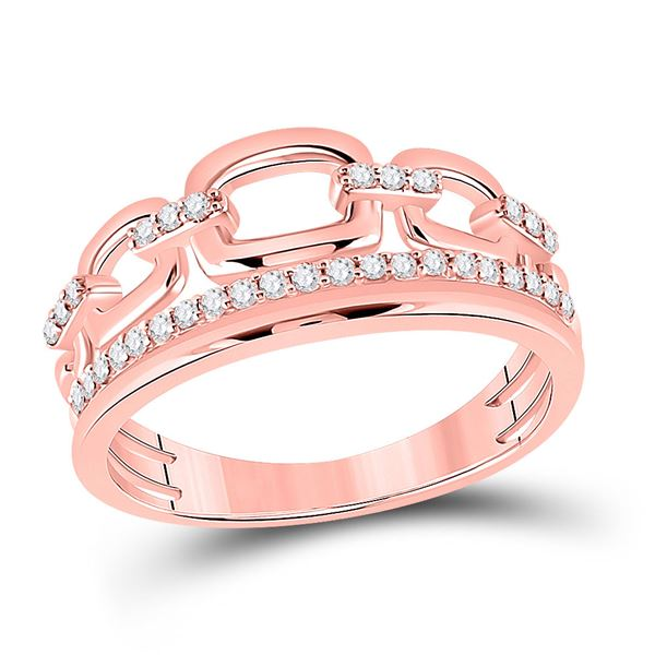 Round Diamond Chain Link Fashion Ring 1/4 Cttw 14KT Rose Gold