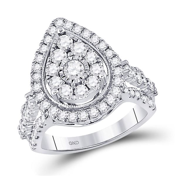 Round Diamond Pear Teardrop Ring 1-3/4 Cttw 14KT White Gold