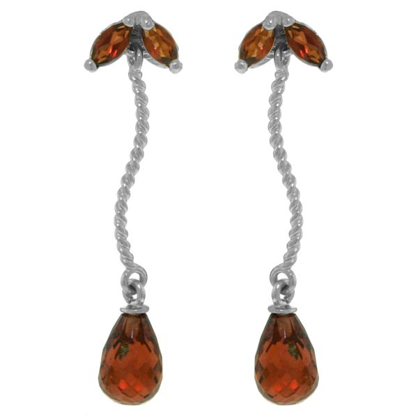 Genuine 3.4 ctw Garnet Earrings 14KT White Gold - REF-21H6X