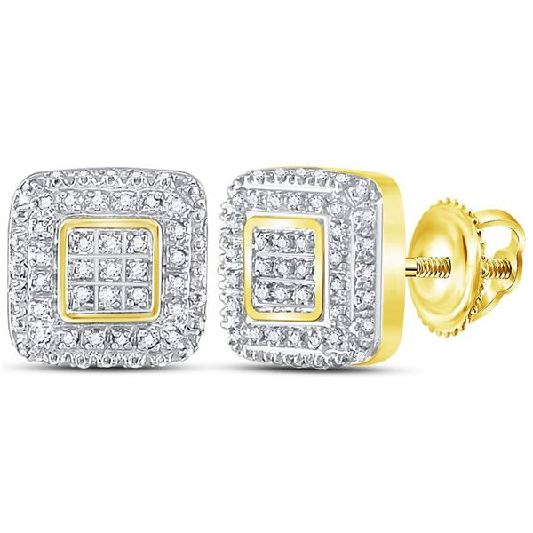 Round Diamond Square Cluster Earrings 1/4 Cttw 10KT Yellow Gold