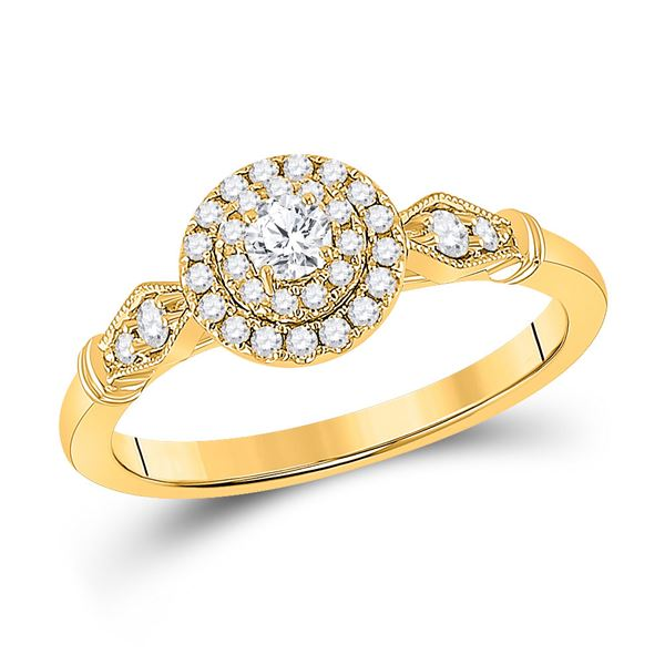 Diamond Halo Bridal Wedding Engagement Ring 1/3 Cttw 14KT Yellow Gold