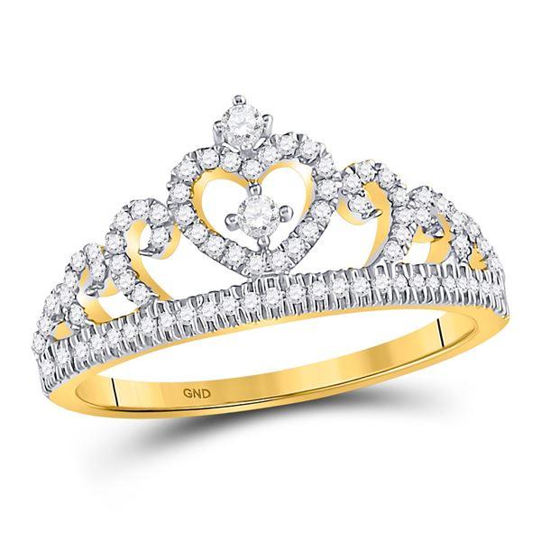Round Diamond Heart Crown Fashion Ring 1/4 Cttw 10KT Yellow Gold