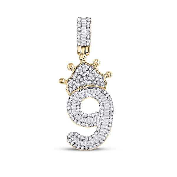 Round Diamond Number 9 Crown Charm Pendant 3/4 Cttw 10KT Yellow Gold