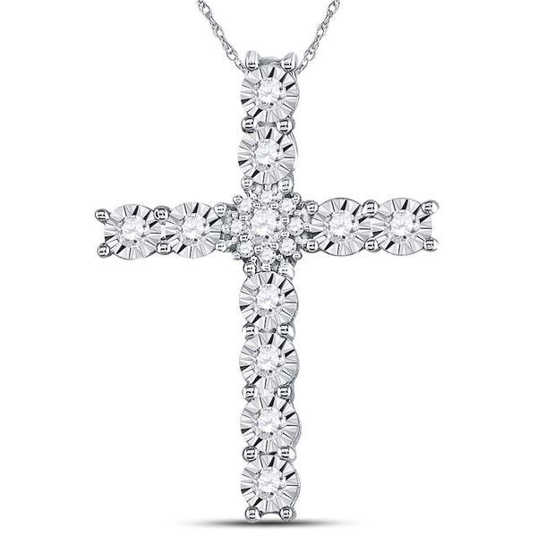 Round Diamond Cross Pendant 3/8 Cttw 14KT White Gold