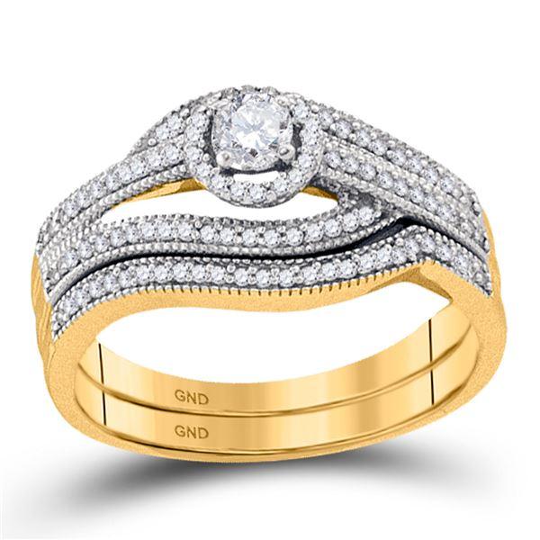 Diamond Halo Bridal Wedding Ring Band Set 3/8 Cttw 10KT Yellow Gold