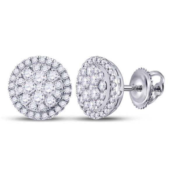 Round Diamond Halo Cluster Earrings 1 Cttw 14KT White Gold