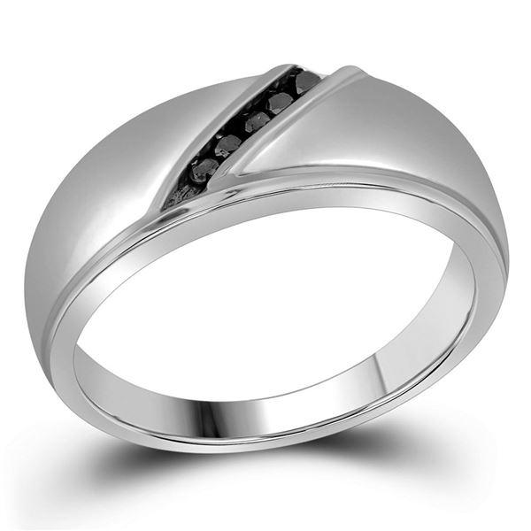 Round Black Color Enhanced Diamond Band Ring 1/8 Cttw 10KT White Gold